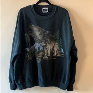 VINTAGE wolf pack graphic crewneck